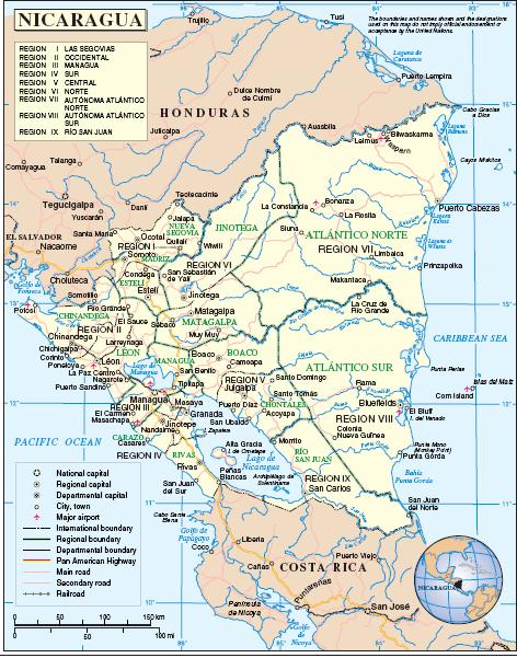 a map of nicaragua. a map of nicaragua.