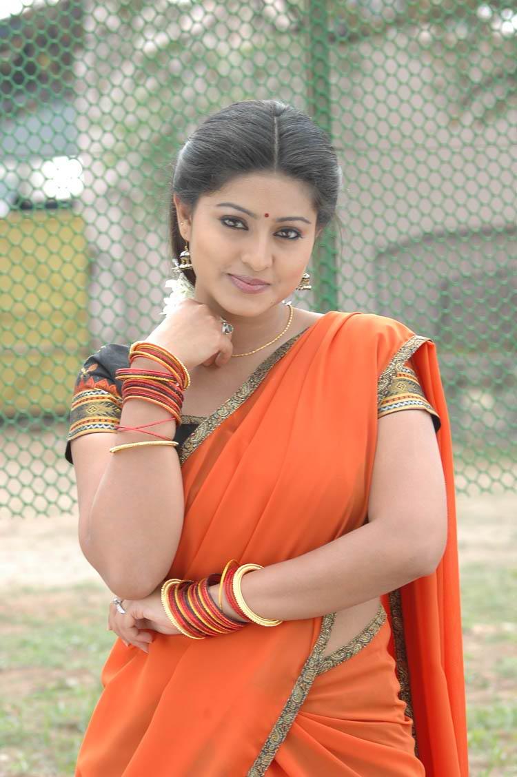 , Sneha Photo Gallery In Orange Saree