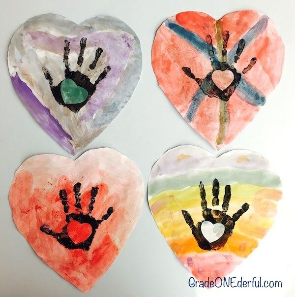 Watercolour handprint valentine art by Grade 1