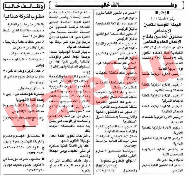 وظائف جريدة الأهرام الأحد 17 فبراير 2013 -وظائف مصر الاحد 17-2-2013