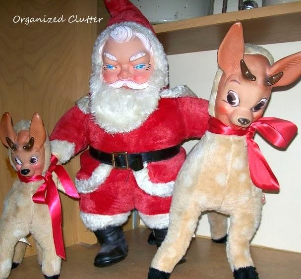 1959 Santa & Reindeer Columbia Toys www.organizedclutterqueen.blogspot.com