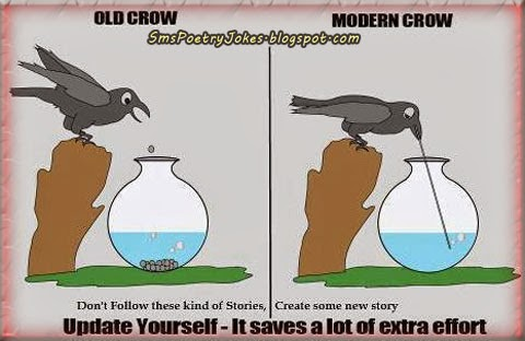The Modern Thirsty Crow Story, The Old Thirsty Crow Story, Thirsty Crow Funny Picture,