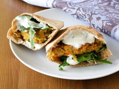 Wholemeal Pitta with a Spiced Quinoa and Sweet Potato Patty and Lemon Mint Yogurt