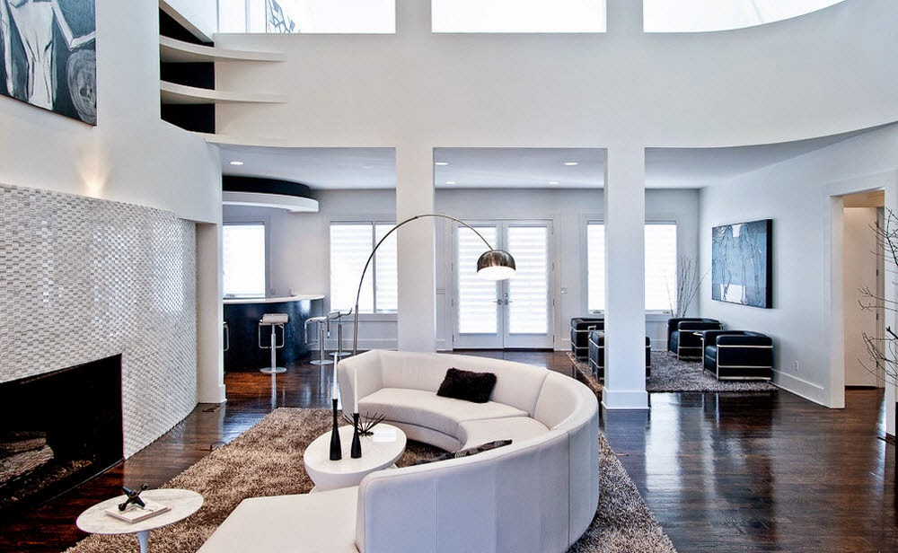 Sofa lengkung warna putih