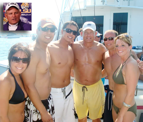 Les Miles is on a boat.