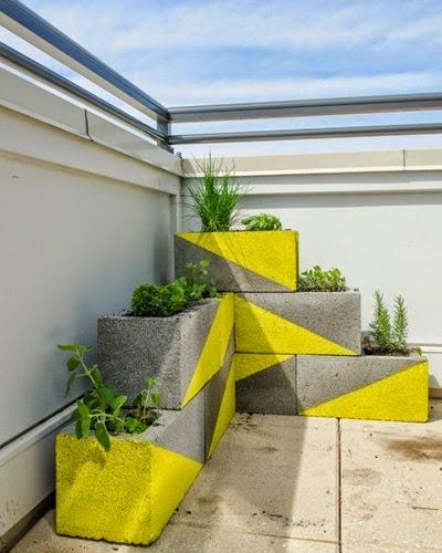 Vaso reutilize bloco de concreto