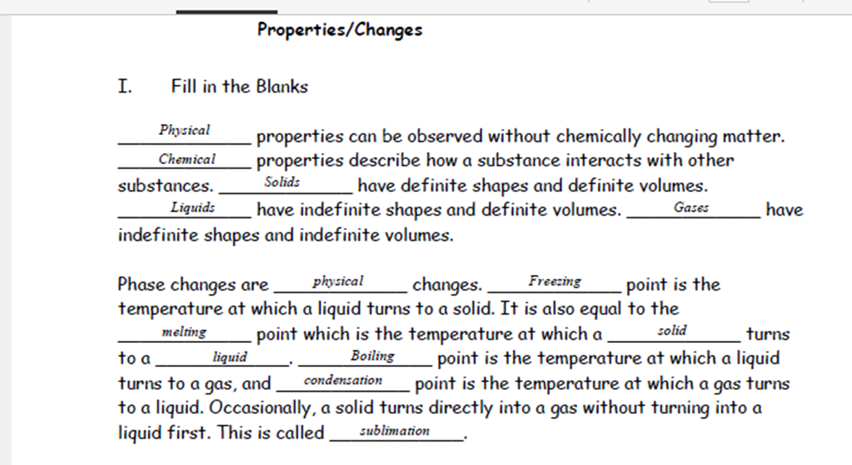 Ms clarks physical science blog september 2015 answer key chem phys change video notes robcynllc Image collections