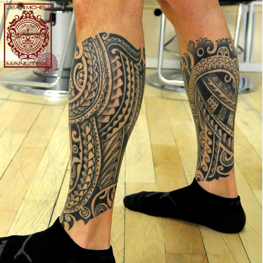 tatouage polynesien mollet - Photo Tatouage polynésien sur le mollet d'une femme