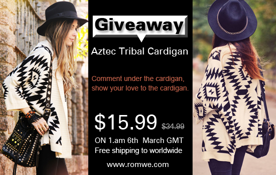 romwe aztec tribal cardigan giveaway! open worldwide & free shipping!