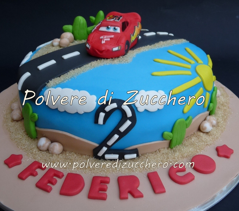 Torta Cars: Saetta Mcqueen Polvere di Zucchero:cake ...