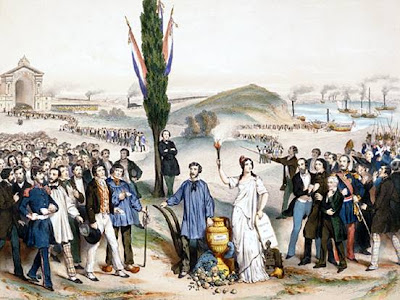 Suffrage universel dédié à Ledru-Rollin, painted by Frédéric Sorrieu, 1850. This lithography pays tribute to French statesman Alexandre Auguste Ledru-Rollin for establishing universal male suffrage in France in 1848