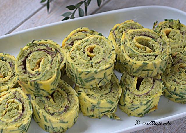 Girelle alla crema di piselli con uova di lompo  ricetta fingerfood