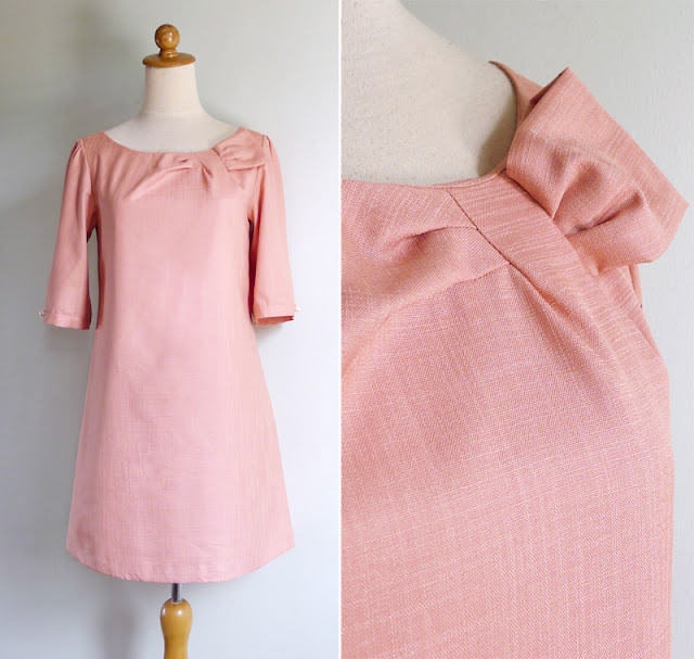 vintage peach salmon mod dress