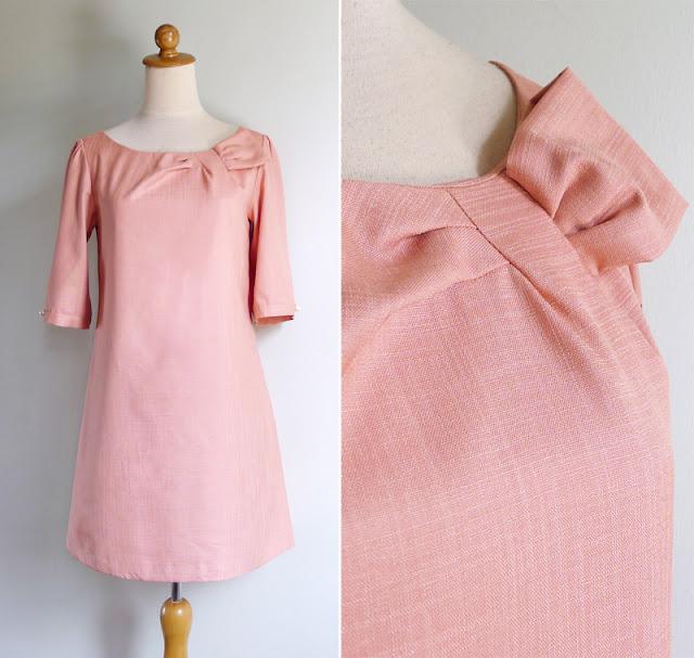 vintage peach salmon mod dress
