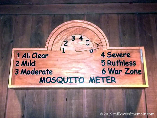 Famous mosquito meter set to 6 - war zone at Congaree National Park in Hopkins, South Carolina