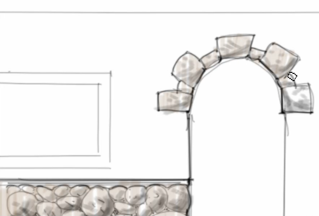 Stone Elevation Drawing : Interior design rendering march