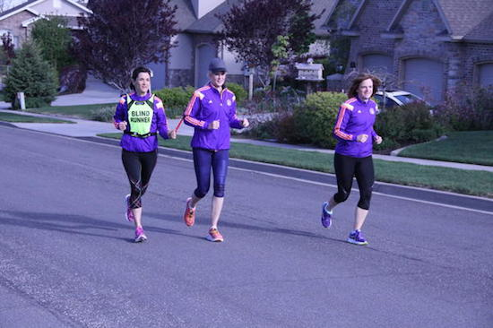 Becky Andrews runs with her two friends in Bountiful, Utah
