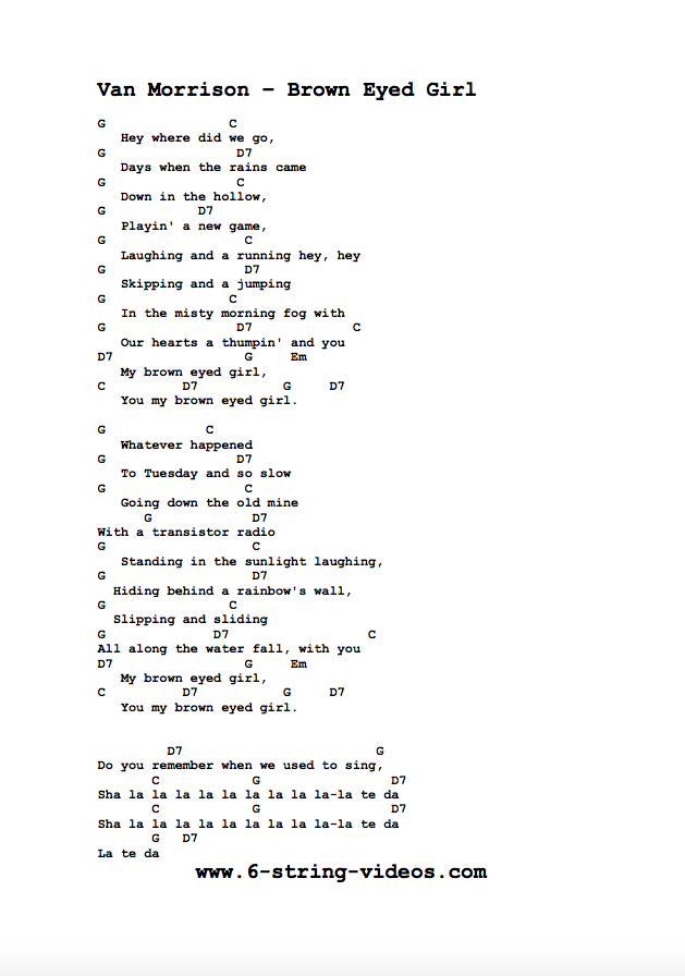 Guitar Tabs Lyrics And Chords For Brown Eyed Girl