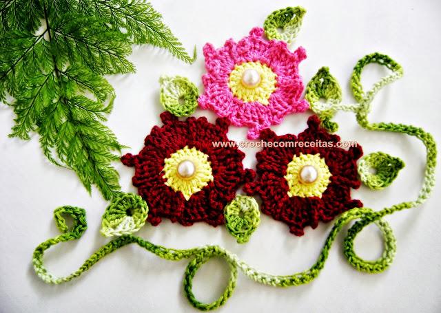 flores de outono em croche com edinir-croche blog