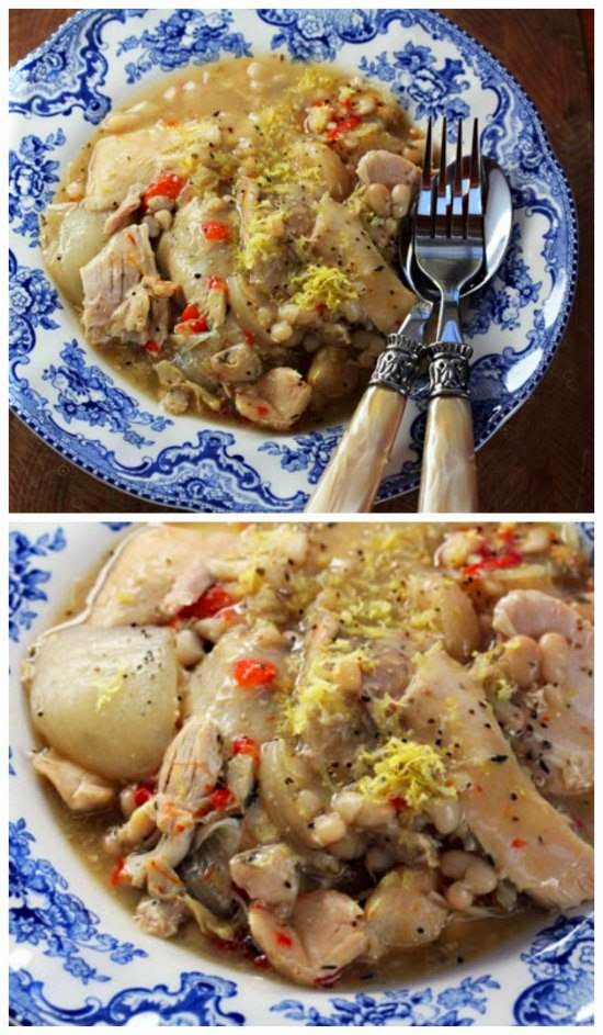 Lemon Garlic Chicken and White Bean Stew Slow Cooker Recipe from The ...