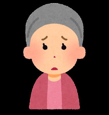 ケア帽子をかぶった女性のイラスト(困った顔)