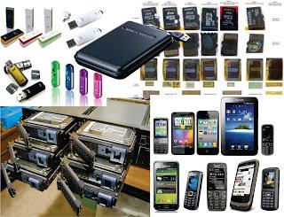 Beragam Media Penyimpanan (Harddisk, Flashdisk, RAID, Micro SD, POnsel, Tablet, dll)