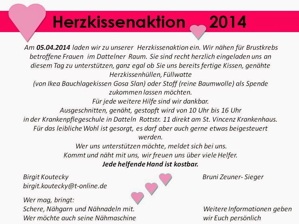 Herzkissenaktion in Dortmund: Herzkissen nähen in Datteln
