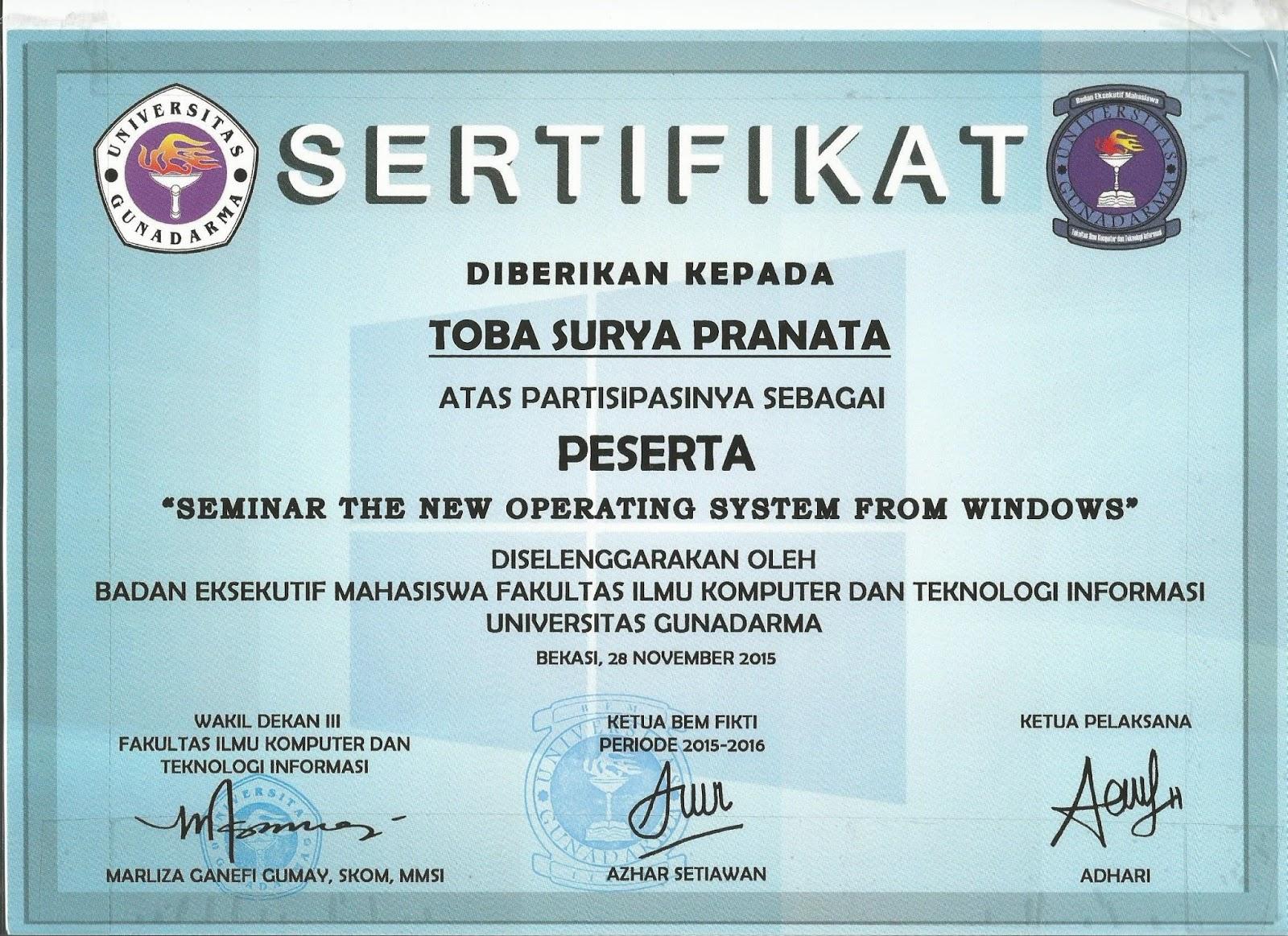 Sertifikat Seminar Toba Surya Pranata
