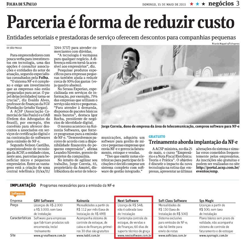 NeXT Software no jornal Folha de São Paulo