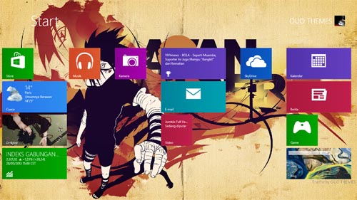Sasuke Uchiha Naruto Theme For Windows 7 And 8