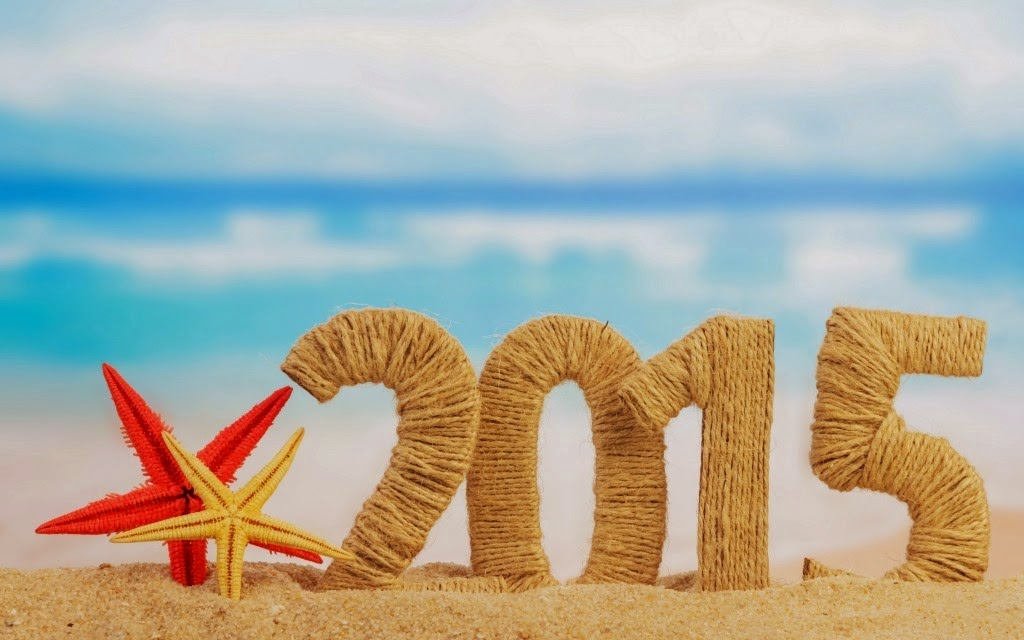 beach theme artistic photo of new year 2015
