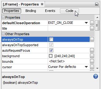 Clic en la pestaña Code de la ventana Properties