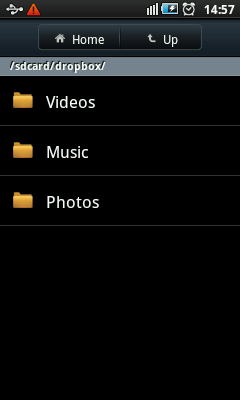 Android Dropbox Folders in SDCard