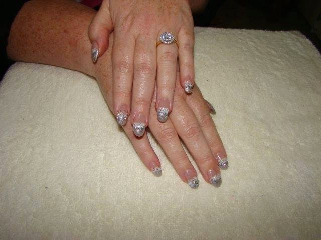 Acrylics sculpts glitz and glam + nail stamping for lace effect