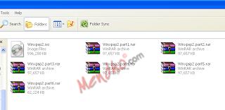 Hasil dari split file menggunakan WinRAR - Image by MeNDHo.com
