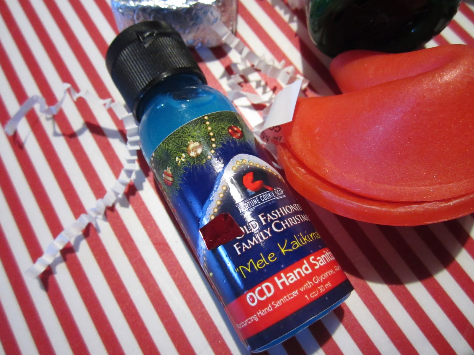 Mele Kalikimaka OCD Hand Sanitizer Fortune Cookie Soap 2014 Winter Soap Box