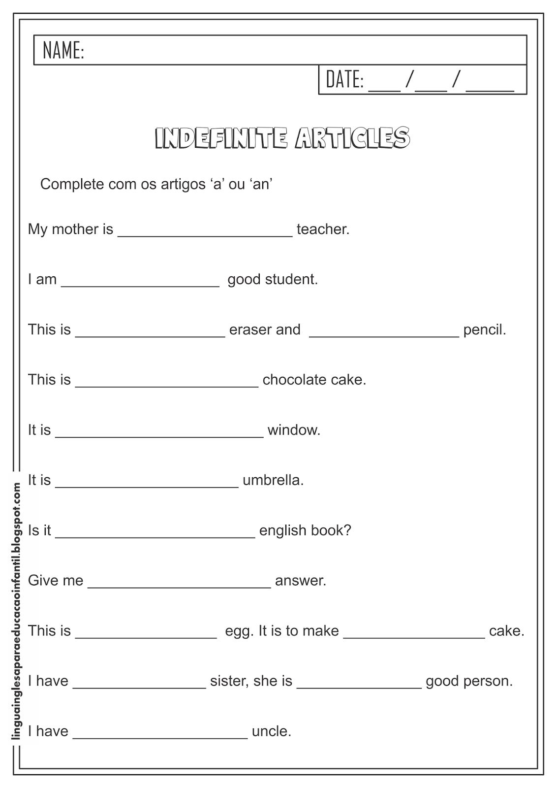 Atividade de Inglês - Artigos Indefinidos 'A' e 'An'