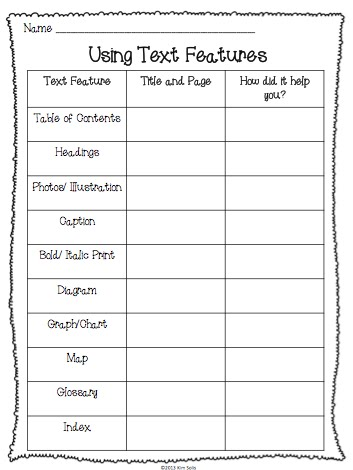Nonfiction Text Features Worksheet First Grade Worksheets for all ...