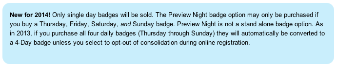 Comic-con International ticketing update