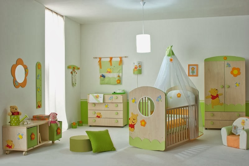 Baby-Nursery-Room-with-Winnie-the-Pooh-Furniture-Set-and-Flower-Shaped