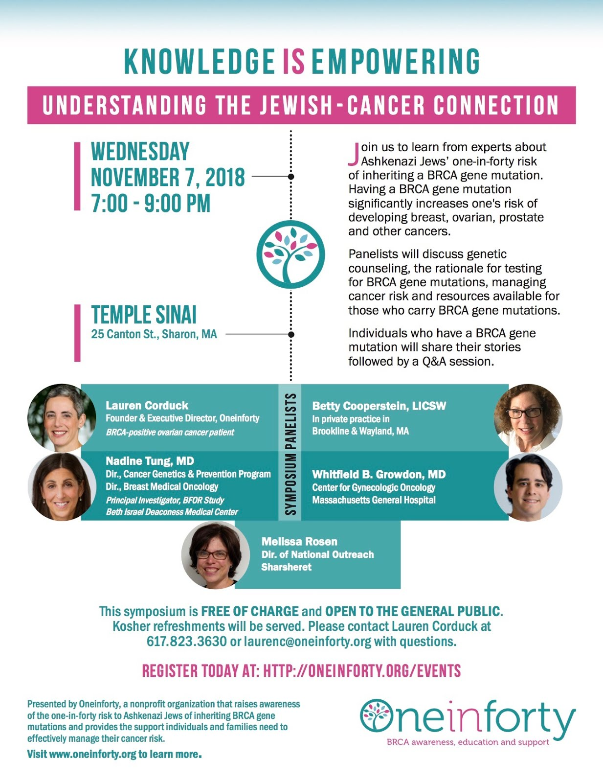 FEATURED EVENT -  Understanding the Jewish Cancer Connection - November 7, 2018