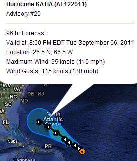 Hurrikan KATIA leidet - kein Major Hurricane mehr prognostiziert - Dominikanische Republik wohl endgültig aus dem Schneider, Katia, US-Ostküste Eastcoast, September, aktuell, Verlauf, Dominikanische Republik, Karibik, Atlantik, Hurrikansaison 2011, 2011,