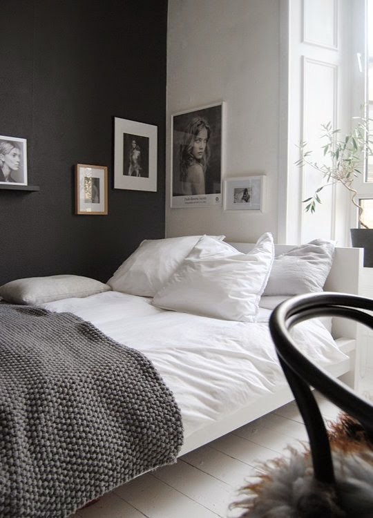A Black Wall Can Add An Interesting Focal Point To A Bedroom And This Can  Be Complemented With Neural Coloured Fabrics And Accessories.