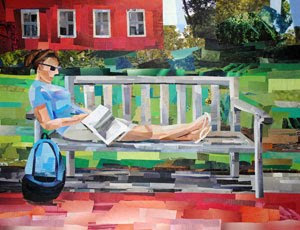 The Reader by collage artist Megan Coyle