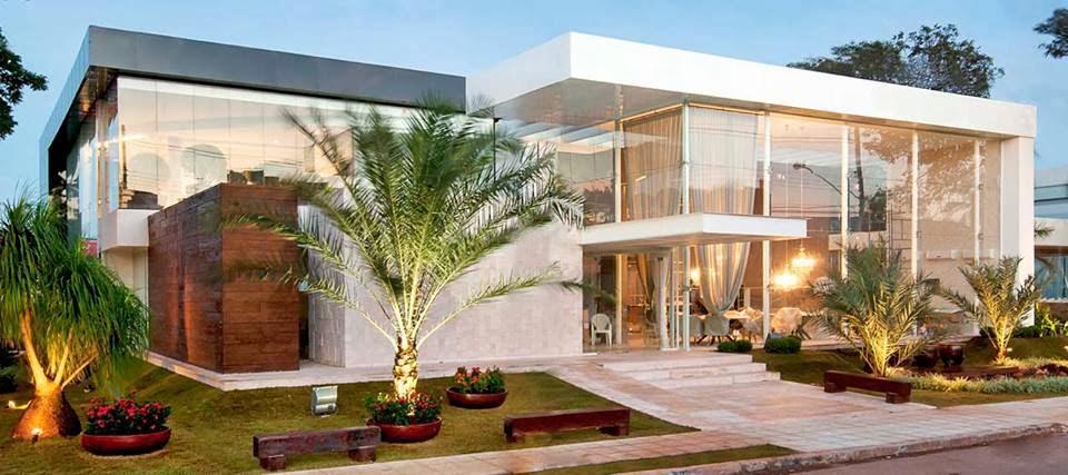 Construindo minha casa clean fachadas de casas brancas - Entradas para casas ...