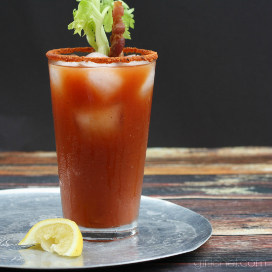 Spicy Bacon Bloody Mary + Bacon-infused Vodka #BaconMonth #putsomepiginit via @girlichef