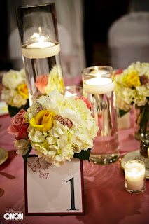 Pink, yellow, white, centerpiece, trio, cylinders, Isha Foss Events