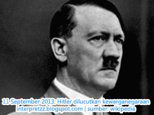 Kewarganegaraan terhormat Hitler dilucutkan, selepas 68 tahun.