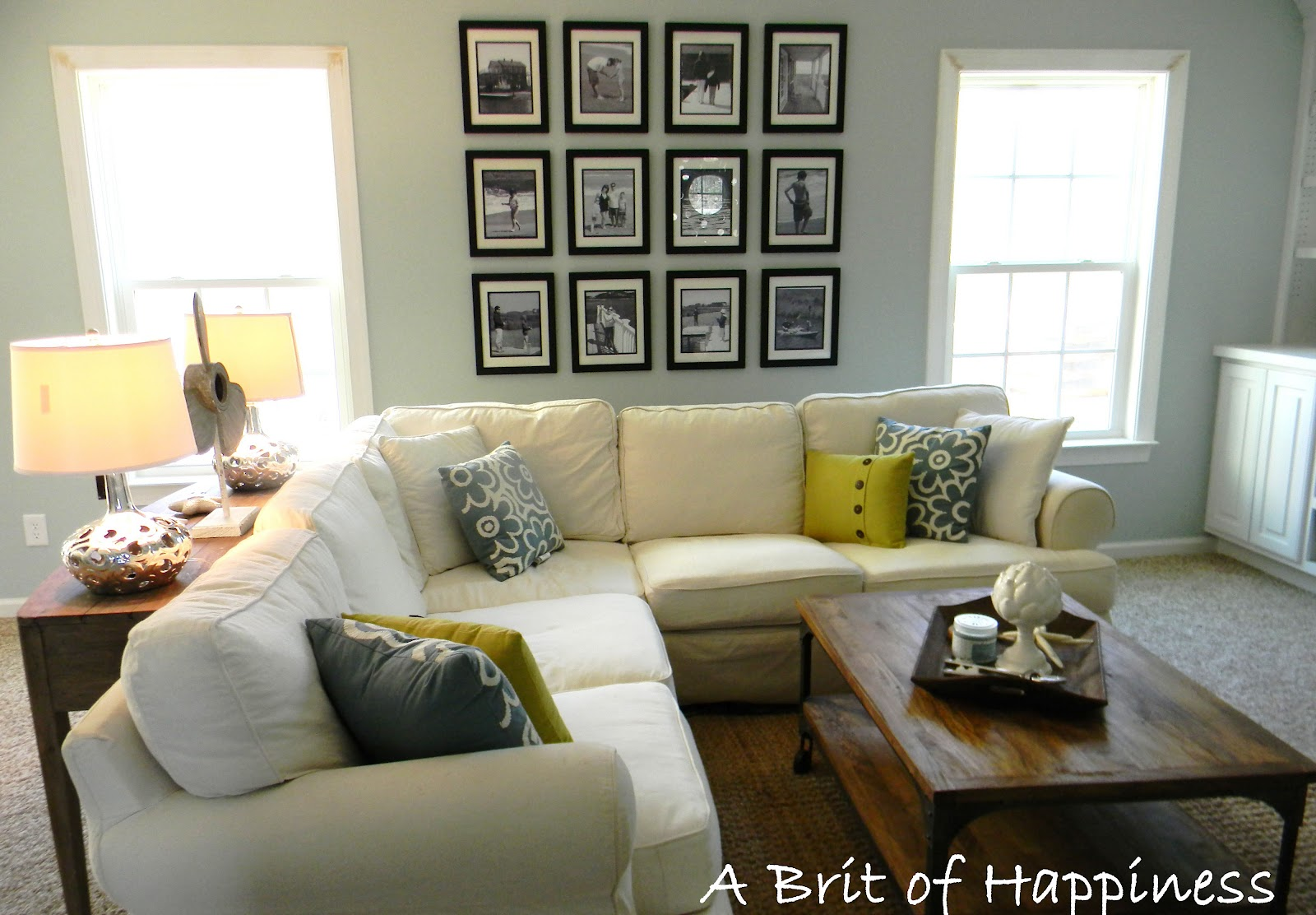 Remodelaholic beach coastal family room makeover Living room makeover ideas