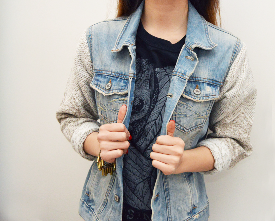 DIY: Sweater Sleeve Denim Jacket - Wild Amor